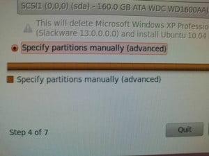 Partition secara manual