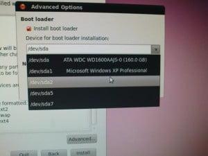 Tukar lokasi bootloader
